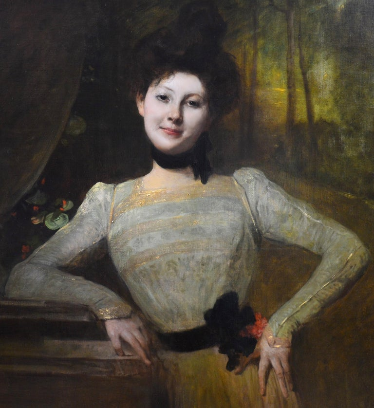 Madeleine - Very Large Portrait of Young Beauty Victorian Edwardian Girl 1901 - Brown Portrait Painting by Jean-Joseph Benjamin-Constant