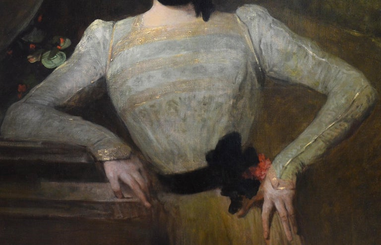 This is a very large fine Victorian oil painting depicting a young society beauty at the turn of the 19th century by the eminent French Royal Academy and Paris Salon painter Jean-Joseph Benjamin-Constant (1845-1902). 'Madeleine' is signed by the