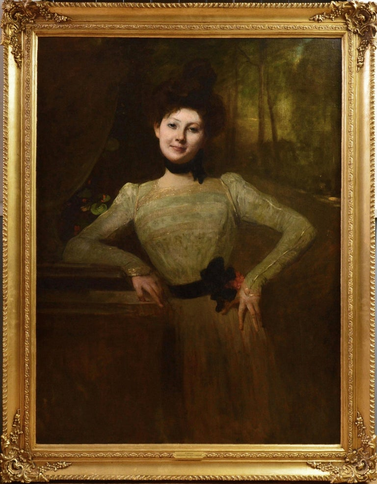 Jean-Joseph Benjamin-Constant Portrait Painting - Madeleine - Very Large Portrait of Young Beauty Victorian Edwardian Girl 1901