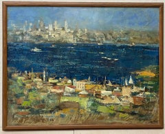 "Jean Kalisch ""Across the Bay"" Original Mid Century Oil Painting C.1960"