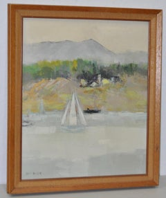 "Jean Kalisch ""Coast"" Landscape With Sailboat Oil Painting C.1950s."