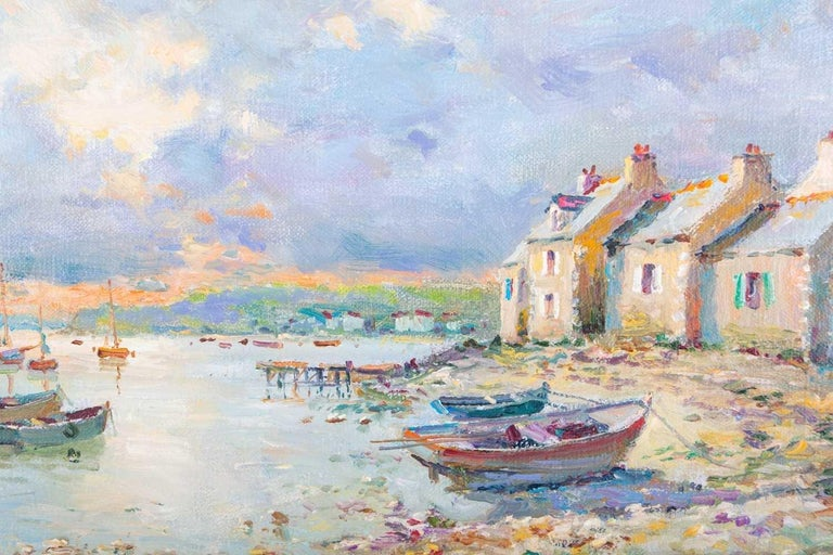 Superb French Impressionist Signed Oil Painting Brittany Boats Coastline Sunset - Beige Still-Life Painting by JEAN KEVORKIAN