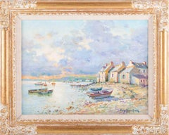 Superb French Impressionist Signed Oil Painting Brittany Boats Coastline Sunset