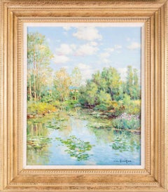 Superb French Impressionist Signed Oil Painting Waterlily Pond Nympheas