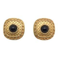 Jean & Kuniko Vintage Gilt Black Earrings 1980S