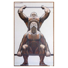 """Jean Lamorlette, """"The Weightlifters"""", Painting, 1959"""