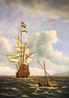 Dutch Man of War, Battleship at Sea, Signed Oil