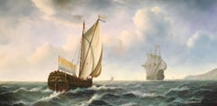 French Galleons at Sea, Signed Oil