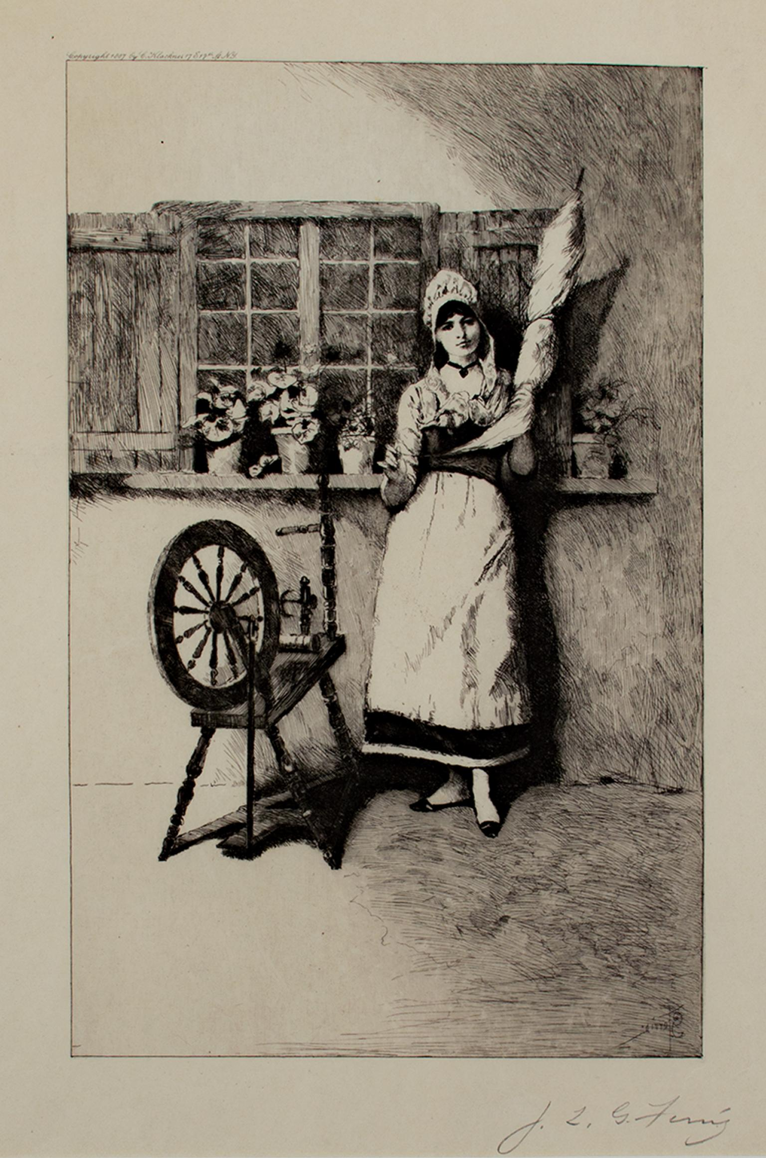 """""""The Spinner,"""" Etching signed by Jean Leon Gerome Ferris"""