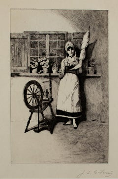 """The Spinner,"" Etching signed by Jean Leon Gerome Ferris"