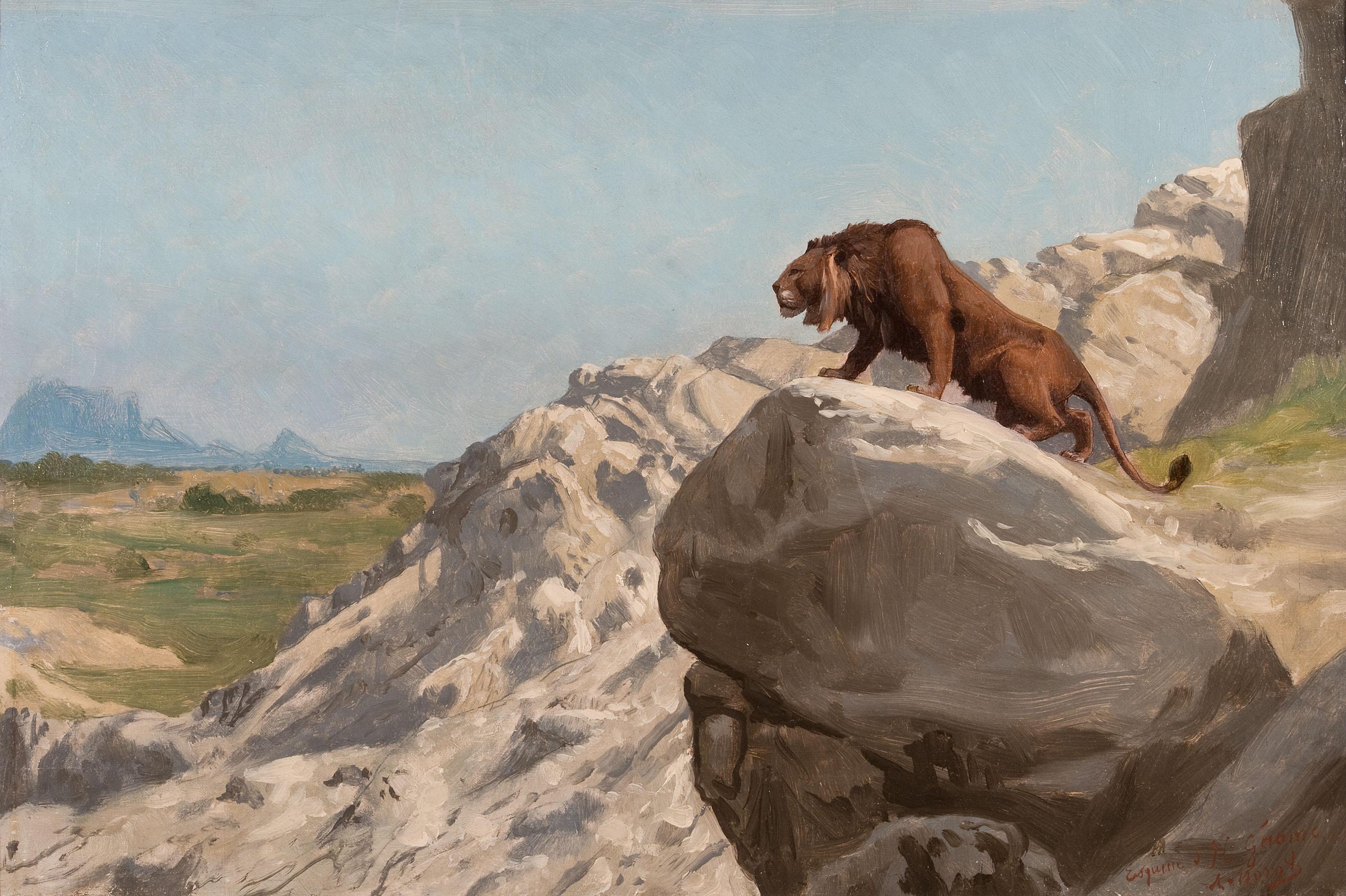 Jean-Léon Gérôme - Lion aux Aguets; On the Watch, french, painting, academicism