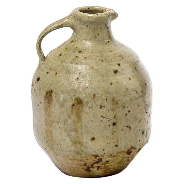 Jean Linard Brown Stoneware Ceramic Pitcher  1961 French Design Pottery