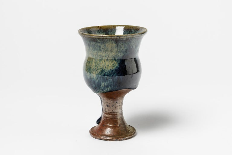 Jean Linard (1931-2010)  Blue stoneware ceramic coffee cup or bowl by Jean Linard  Realized circa 1970 in La Borne  Signed at the base  Original perfect condition  Measures: Height 13cm, large 9cm.