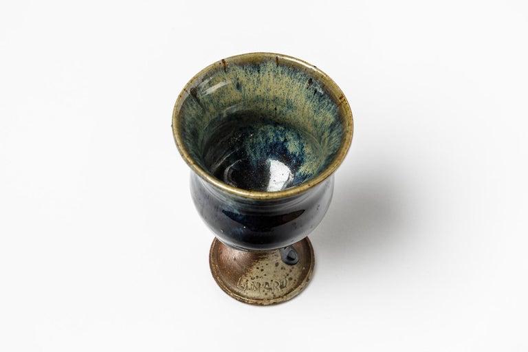 Jean Linard Mid-20th Century Ceramic Coffee Cup Blue Color, circa 1970 In Excellent Condition For Sale In Neuilly-en- sancerre, FR