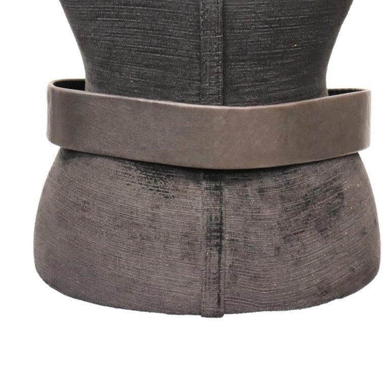 Women's Jean L'Insolite Black Leather Belt W/ Gold Buckle For Sale