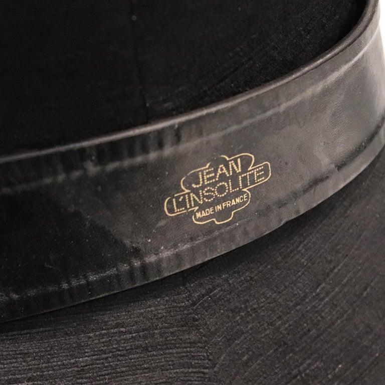 Jean L'Insolite Black Leather Belt W/ Gold Buckle For Sale 2