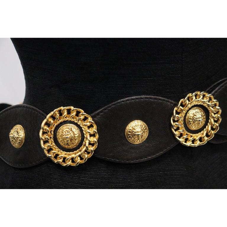 Women's Jean L'Insolite Black Leather W/ Gold Accents Belt  For Sale