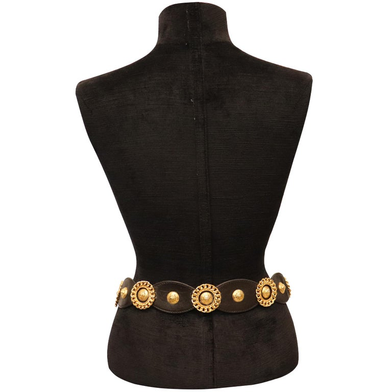 Jean L'Insolite Black Leather W/ Gold Accents Belt  For Sale 1