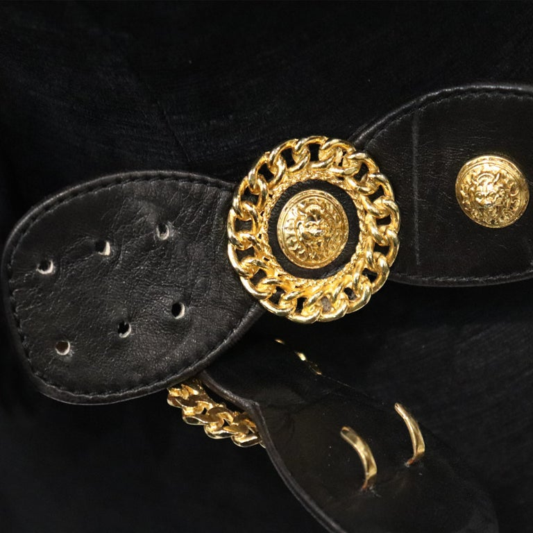 Jean L'Insolite Black Leather W/ Gold Accents Belt  For Sale 2