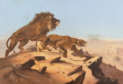 'Lions Observing a Caravan', 19th Century North African Orientalist Gericault