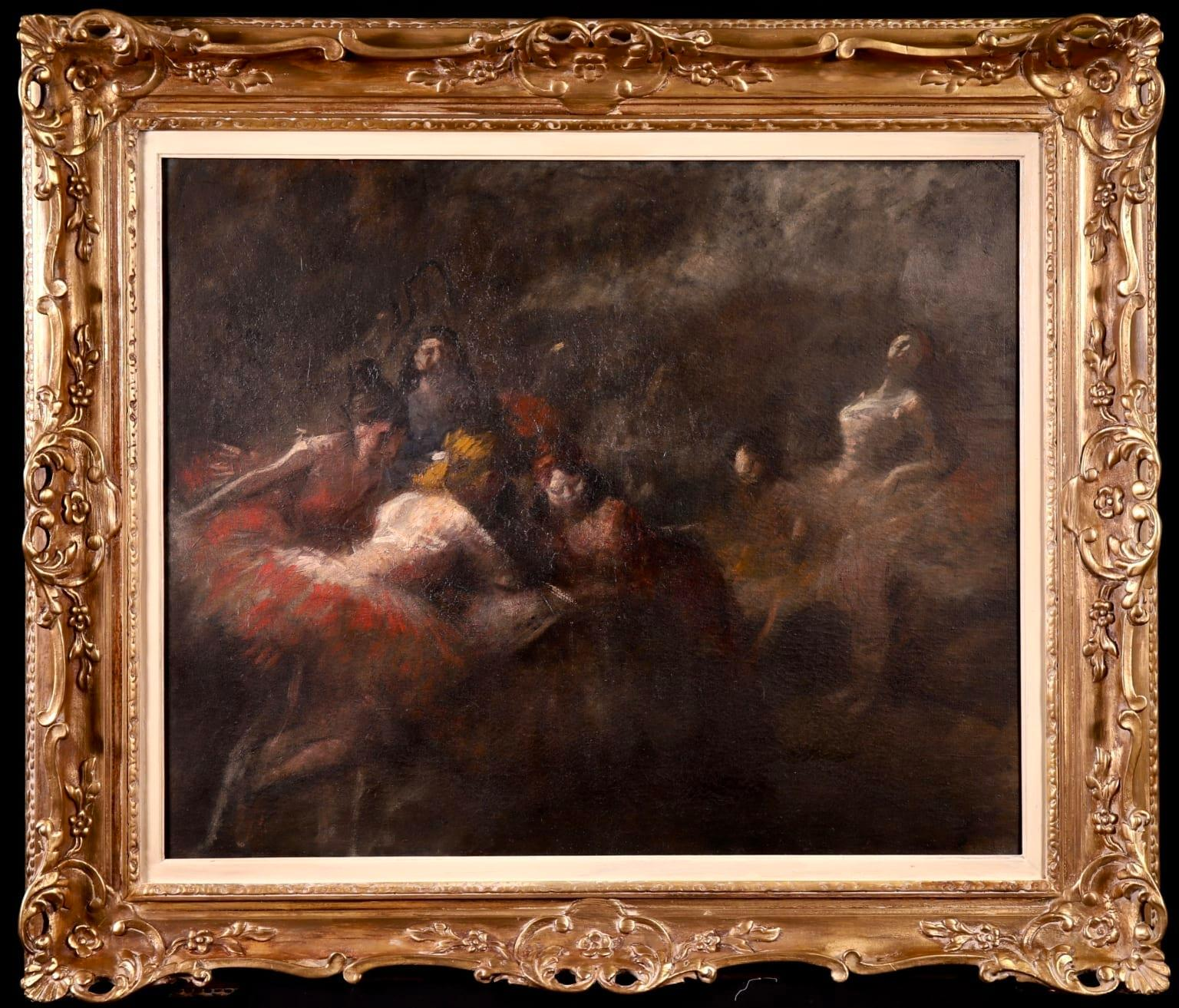 Dancers at Opera - Impressionist Oil, Figures in Interior by Jean Louis Forain
