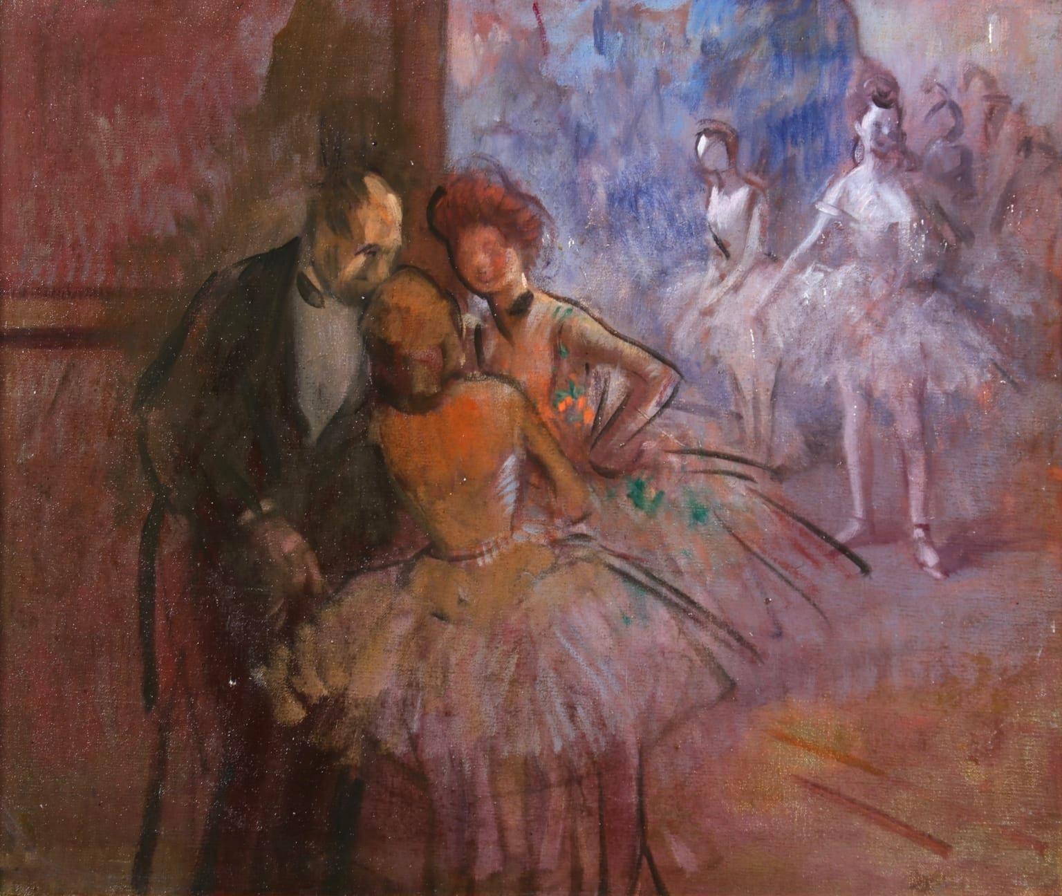 Danseuses dans les coulisses a l'Opera - Figurative Impressionist Oil - Forain