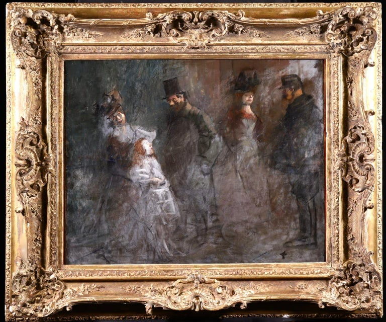 Prostitution - French Impressionist Oil, Figures at Night by Jean Louis Forain For Sale 1
