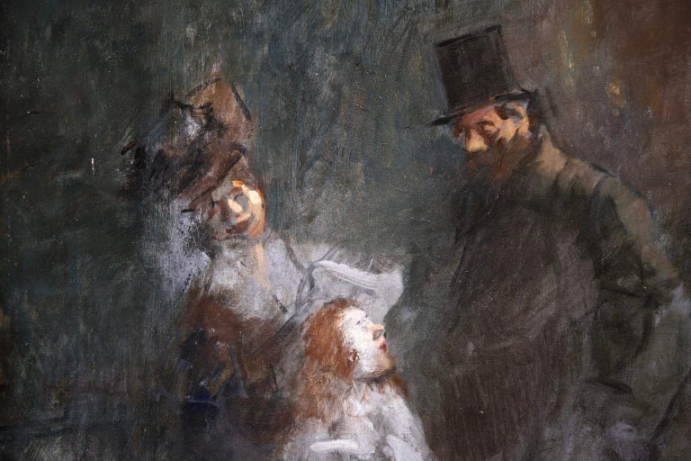 Prostitution - French Impressionist Oil, Figures at Night by Jean Louis Forain For Sale 2