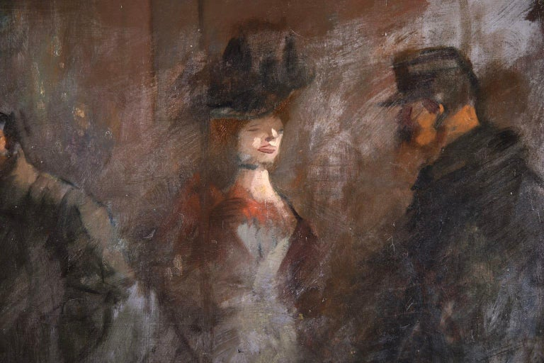 Prostitution - French Impressionist Oil, Figures at Night by Jean Louis Forain For Sale 4