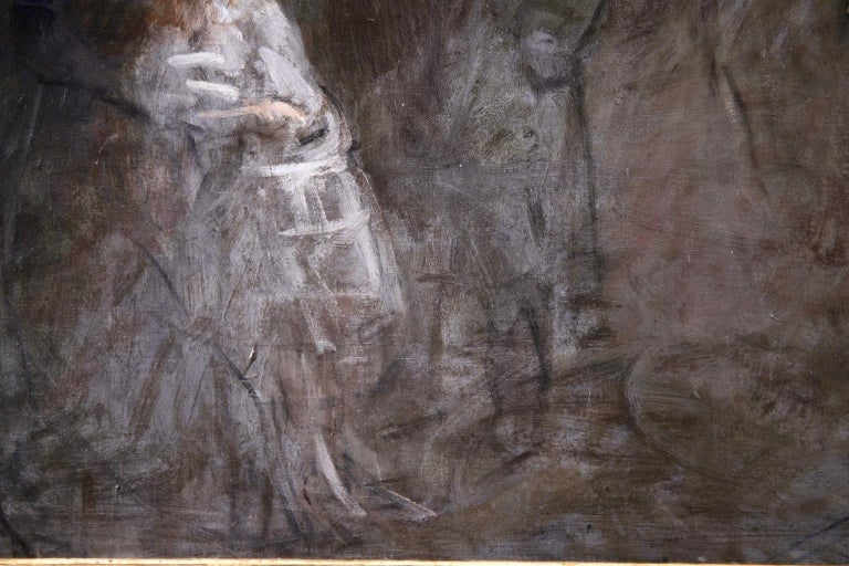 Prostitution - French Impressionist Oil, Figures at Night by Jean Louis Forain For Sale 8