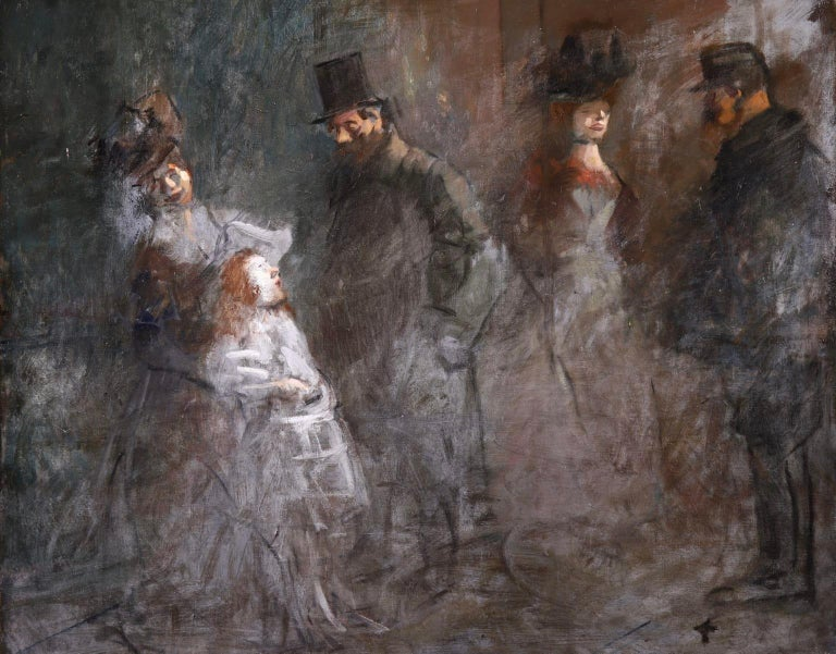 An exceptional oil on original canvas by sought after French impressionist painter Jean Louis Forain. The piece depicts a nighttime scene of men approaching working women. The white of the woman's clothes contrasts against the dark scene. The piece