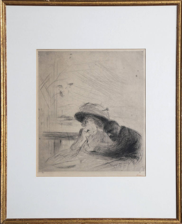 Grieving Couple, Etching by Joan-Louis Forain c 1900