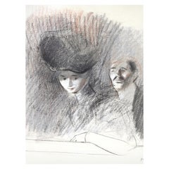 Jean-Louis Forain 'At the Theater' Graphite and Colored Chalk