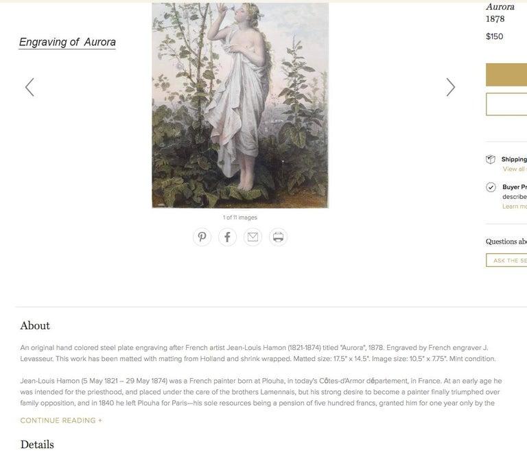 Aurora in white toga smelling a flower.  Goddess of Dawn Mythology scene For Sale 8