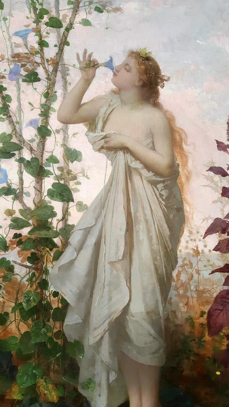 Aurora in white toga smelling a flower.  Goddess of Dawn Mythology scene - Painting by Jean Louis Hamon