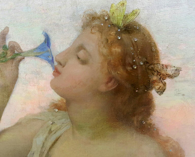 Aurora in white toga smelling a flower.  Goddess of Dawn Mythology scene - Gray Figurative Painting by Jean Louis Hamon