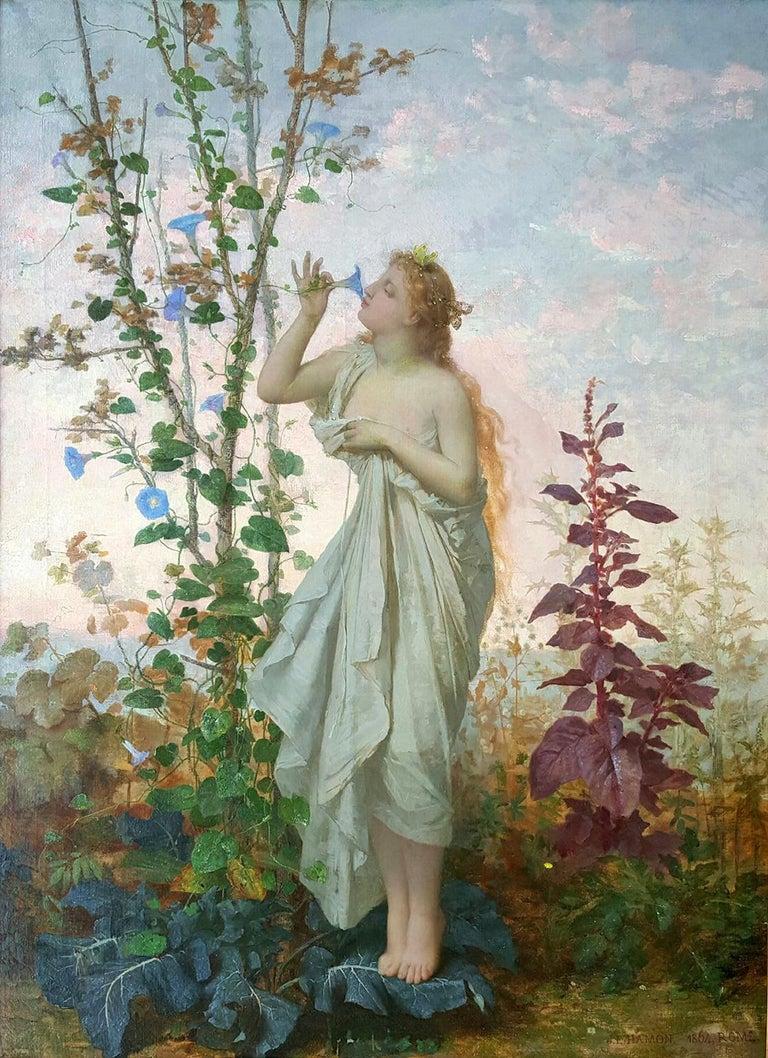 Jean Louis Hamon Figurative Painting - Aurora in white toga smelling a flower.  Goddess of Dawn Mythology scene
