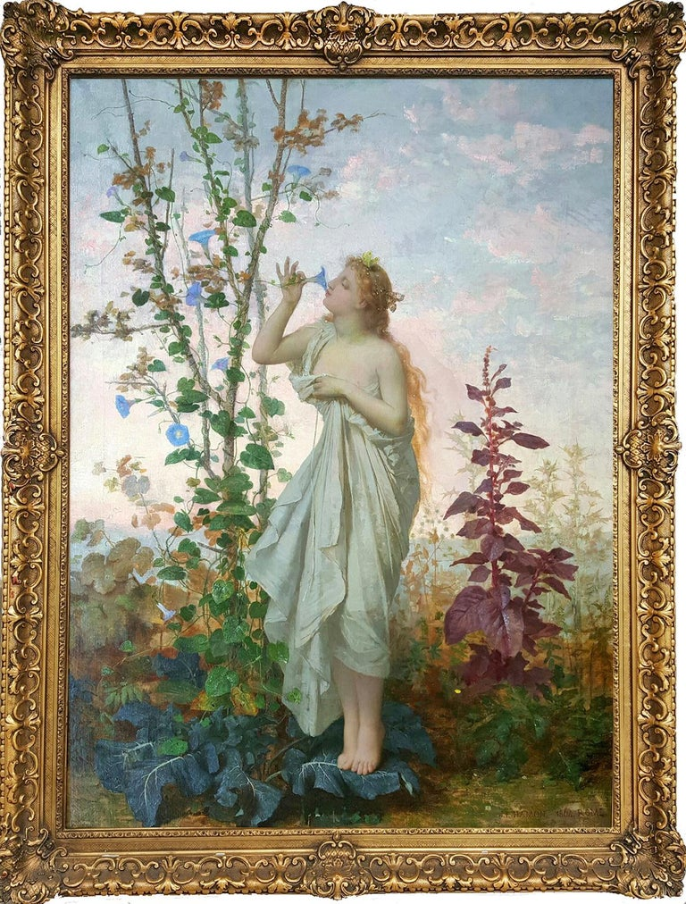 Aurora in white toga smelling a flower.  Goddess of Dawn - Academic Painting by Jean Louis Hamon