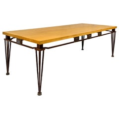 Jean Louis Hurlin Hammered Iron Dining Table, circa 1980, France