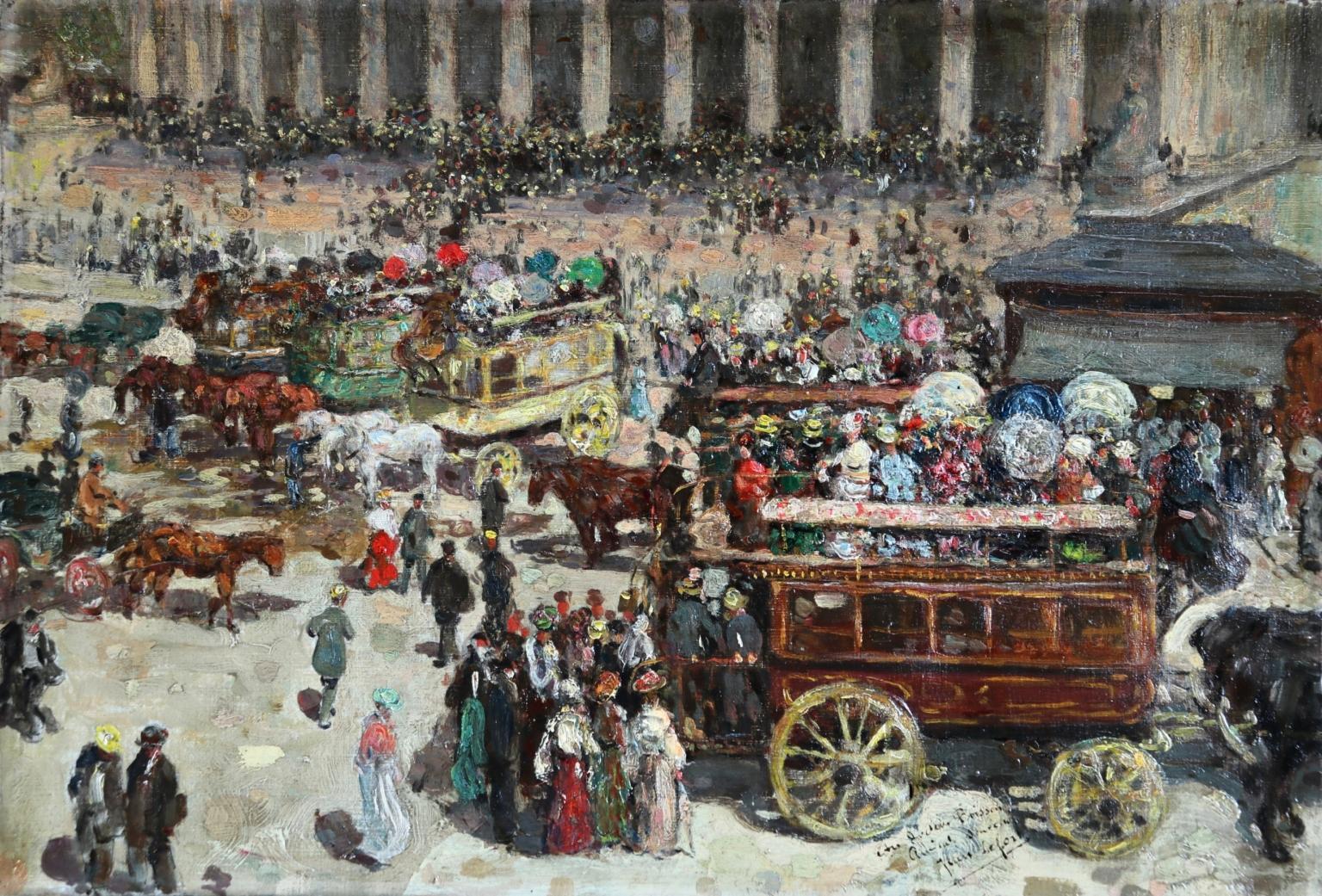 Bourse de Paris - 20th Century, Horse & Carts & Figures in Cityscape by J Lefort