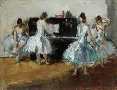 At the Piano - 20th Century Oil, Ballet Dancer Figures in Interior by Cosson
