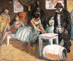 Circus Performers - Post Impressionist Oil, Figures in Interior by Marcel Cosson