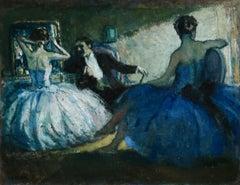 Dancers in Dressing Room - 20th Century Oil, Elegant Figures in Interior Cosson