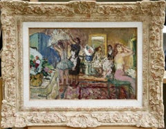 Dancers in Dressing Room - Mid 20th Century Oil, Figures in Interior by Cosson