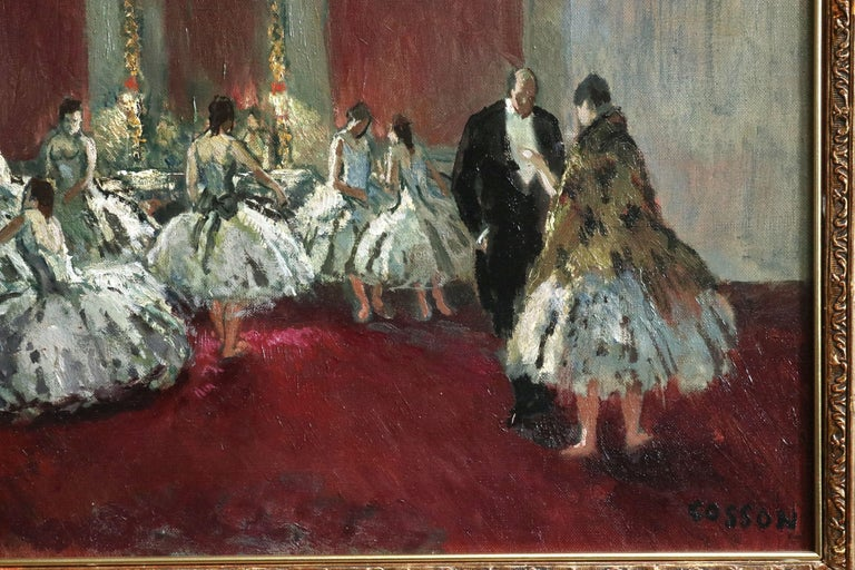 Danseuse - Post Impressionist Oil, Ballet Dancers in Interior by Jean Cosson - Post-Impressionist Painting by Jean-Louis-Marcel Cosson