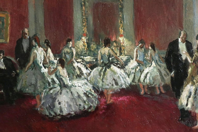 Danseuse - Post Impressionist Oil, Ballet Dancers in Interior by Jean Cosson - Black Figurative Painting by Jean-Louis-Marcel Cosson