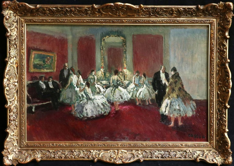 Jean-Louis-Marcel Cosson Figurative Painting - Danseuse - Post Impressionist Oil, Ballet Dancers in Interior by Jean Cosson