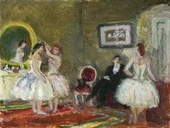 Danseuses au Foyer - 20th Century, Elegant Dancer Figures in Interior by Cosson