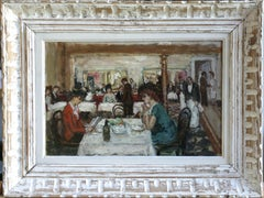 Figures in a Cafe- 20th Century Oil, Elegant Figures Dining in Interior, Cosson