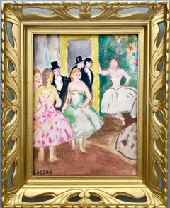 French Post Impressionist gouache painting - L'Opéra - Degas Dancers Dance 1930s